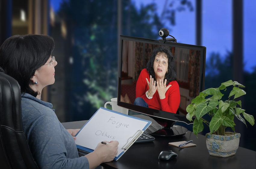 online therapy therapist telling a woman to forgive others-min